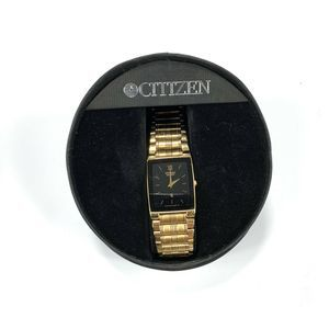 VTG Citizen 1022-H14231 Black Dial Gold Tone Watch